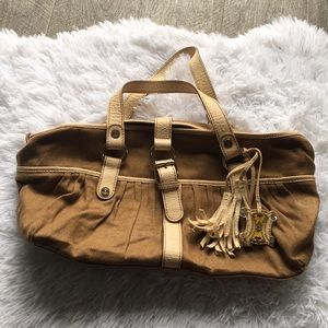 Vintage tassel canvas Celine tote bag